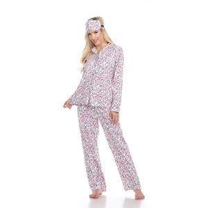 12-Grey Cheetah Plus Size Three-Piece Pajama Set 3